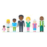 Mixed black family. Multicultural ethnic people. Flat vector cartoon illustration. Objects isolated on a white background Stock Images