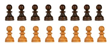 Mixed black and white pawns isolated royalty free stock images