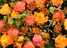 Mixed boquet with autumn colored roses Royalty Free Stock Images