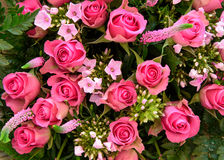 Mixed boquet with colorfull pink roses Stock Images