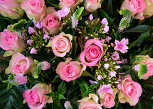 Mixed boquet with pink roses Royalty Free Stock Photo