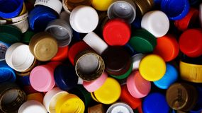 Mixed bottle caps. Mixed colorful bottle caps for recycling Stock Photography