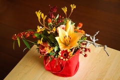 Mixed bouquet of yellow, red and orange flowers royalty free stock photo