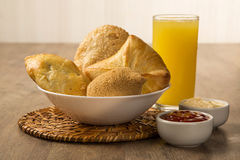 Mixed Brazilian deep fried chicken snack,, esfihas and pastry. Stock Image