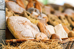 Mixed bread in a wicker basket Royalty Free Stock Images