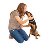 Mixed Breed Dog and Young Lady Stock Photography