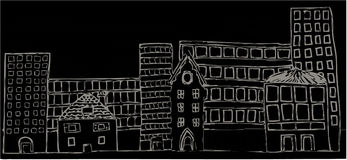 Mixed Buildings Night. A selection of mixed buildings at night vector illustration