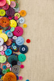 Buttons with copy space on hessian Royalty Free Stock Photo