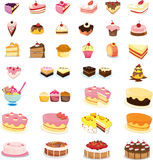 Mixed cakes and desserts Stock Photos