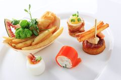 Mixed canape selection Royalty Free Stock Images