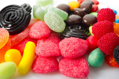 Mixed candy. On white background royalty free stock photos