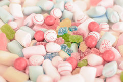 Mixed Candy and marshmallow close up,. In soft colors Stock Photos