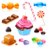 Mixed candy vector. Set of various candy elements including caramel, chocolate, lollipops and fruit gum Royalty Free Stock Photography