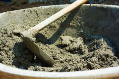 Mixed cement in the bowl at construction site Royalty Free Stock Photo