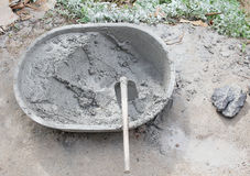Mixed cement in the bowl Stock Image