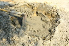 Mixed with cement. Compacted sand Waiting to be mixed with cement Stock Images