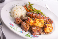 Mixed Chicken, Beef, Adana, Doner Kebabs Served with Rice. Mixed chicken, lamb adana shish kebabs served served on gyro doner with rice pilaf and garnished with Royalty Free Stock Photo