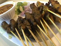 Mixed chicken and beef satay Royalty Free Stock Photo