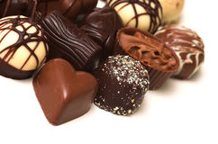 Mixed Chocolates. A collection of mixed chocolates royalty free stock photos