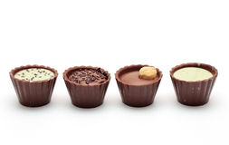 Mixed Chocolates in a row Royalty Free Stock Image