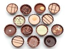 Mixed Chocolates on white Stock Photo