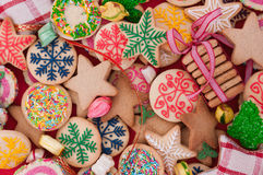 Mixed Christmas cookies. Colorful mix of Christmas-themed decorated cookies Royalty Free Stock Images