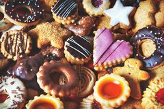 Mixed Christmas cookies stock images