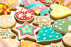 Mixed christmas gingerbread cookies Royalty Free Stock Photos