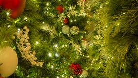 Mixed Christmas Ornaments With Tree In Center Of Frame royalty free stock image
