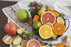 Mixed citrus in the basket Stock Image