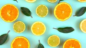Mixed citrus fruit on aqua blue table Stock Photo