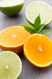 Mixed citrus fruit lemons, orange, kiwi, limes on a gray backgro Royalty Free Stock Photo