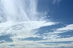 Mixed cloudscapes on blue sky on a sunny day.  Stock Photography
