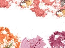 Mixed color crushed make up powder frame. stock photos