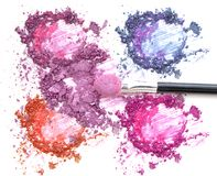 Mixed color eye shadow make up and blush. stock photos