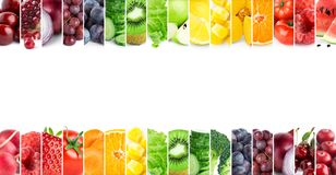 Mixed of color fruits and vegetables. Collage of fresh ripe food. Food concept stock image
