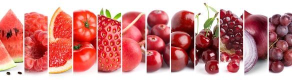 Mixed of color fruits and vegetables Royalty Free Stock Images