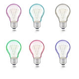 Mixed color of light bulb on white background Stock Images