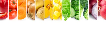 Mixed of color vegetables. Collage of fresh ripe vegetables royalty free stock image