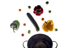 Mixed colorated peppers on white background Royalty Free Stock Photography