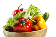 Mixed colorated vegetables on white background Royalty Free Stock Photo