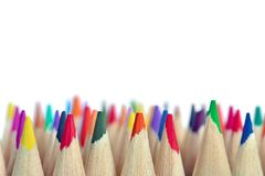 Mixed colored pencils tips Royalty Free Stock Photos