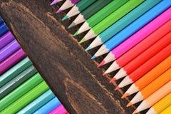Mixed colored pencils tips Stock Photos