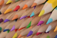 Mixed colored pencils tips Stock Photo