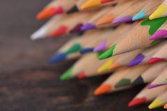 Mixed colored pencils tips Royalty Free Stock Images