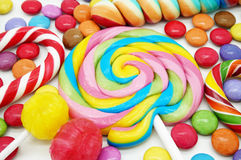 Mixed Colorful Candies. Close Up of Mixed Colorful Candies on White Background stock images
