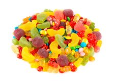 Mixed colorful candies. Color sweets on white background royalty free stock photography