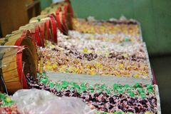 Mixed colorful candies in local fruit shop, dealer in Princeton, Keremeos, British Columbia Royalty Free Stock Image