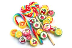 Mixed colorful candy. Candy setl caramel. Sweet lollipop.Mixed colorful candy on white background stock images