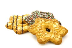 Mixed colorful christmas almond chip cookies Stock Image